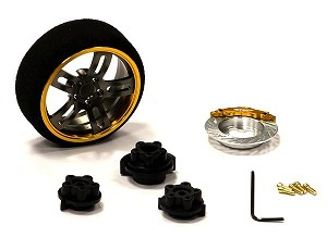 Evolution XII Steering Wheel Set for Most HPI, Futaba, Airtronics, Hitec & KO (Gold & Gunmetal)